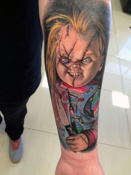 80 chucky tattoo ideas for men horror movie designs. Black Bedroom Furniture Sets. Home Design Ideas