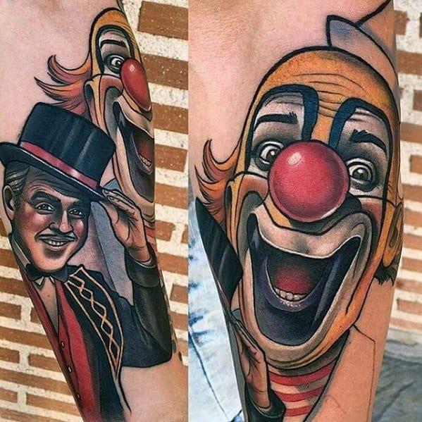 Guys Circus Clowns Forearm Tattoo Design Ideas