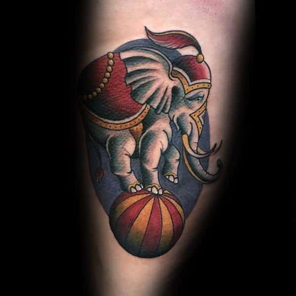 Guys Circus Elephant Standing On Top Of Ball Am Tattoo Designs