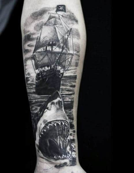Guy's Clipper Ship Tattoos On Forearm