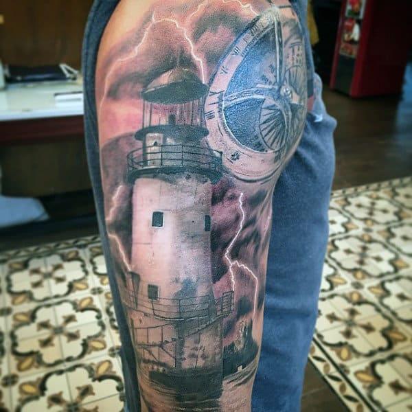 Guys Coastline Lighthouse Tattoos