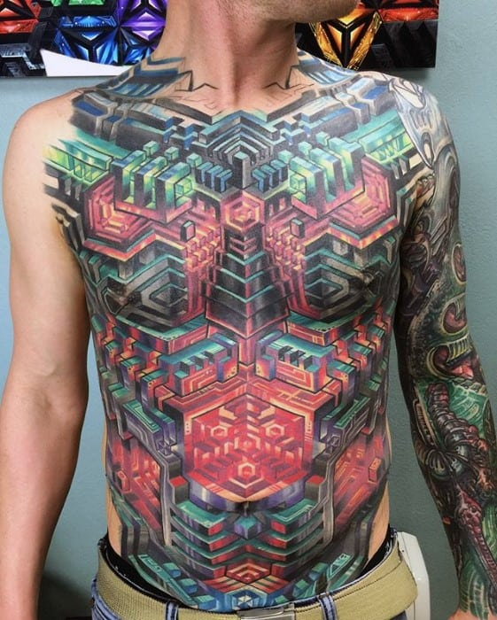 Guys Colorful 3d Geometric Chest Tattoo Design Ideas