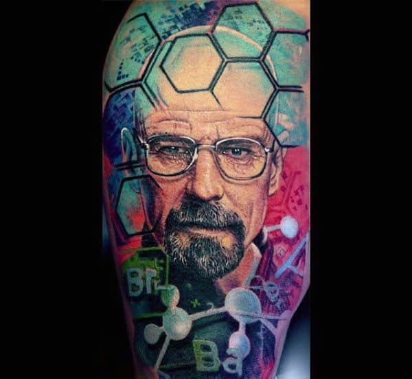 Guys Colorful Chemistry Breaking Bad Tattoo Half Sleeve