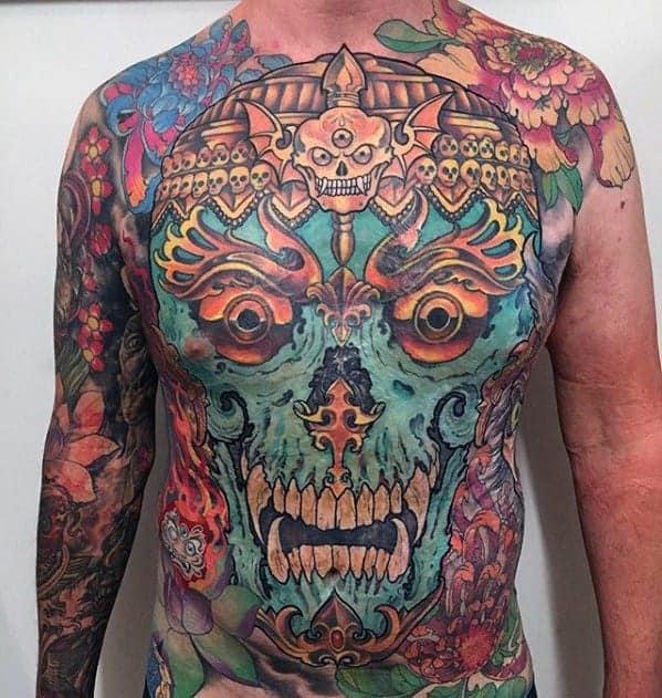 guys-colorful-chest-tattoo-ideas-tibetan-skull-designs