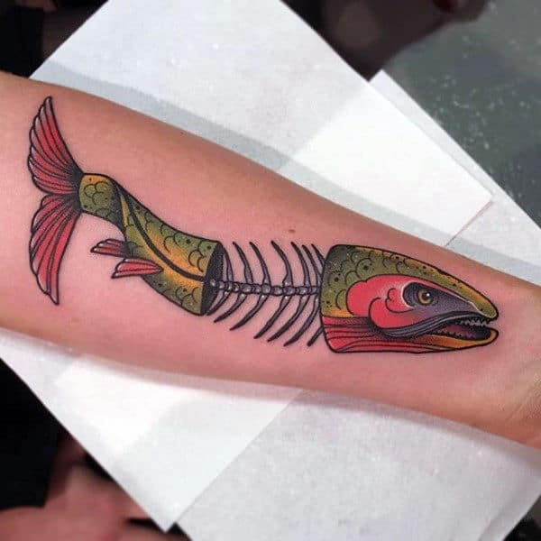 Guys Colorful Fish Skeleton Forearm Tattoo
