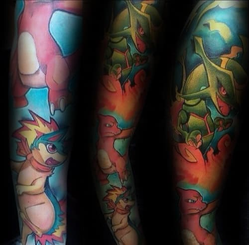 Guys Colorful Pokemon Full Sleeve Tattoo Design Ideas