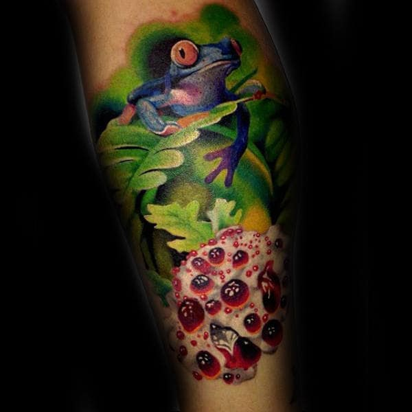 Guys Colorful Realistic Frog Arm Tattoo Design Ideas