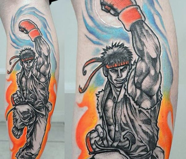 Guys Colorful Street Fighter Leg Tattoo Ideas