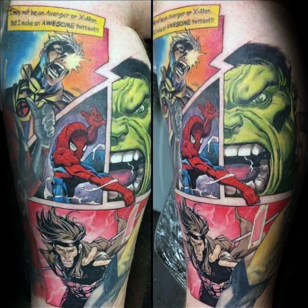 Guys Comic Strip Marvel Arm Tattoo Designs