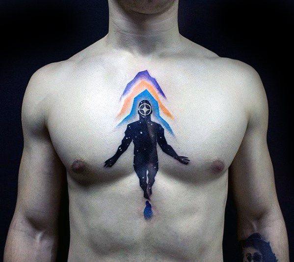 Guys Consciousness Tattoo Design Ideas Upper Chest