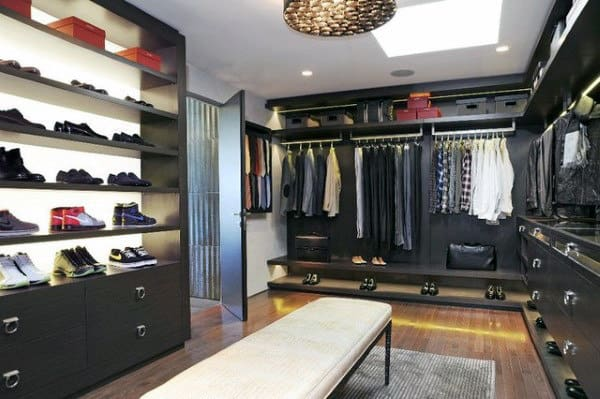 Guys Contemporary Walk In Closet