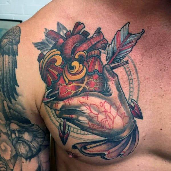 Guys Cool Arrow Piercing Anatomical Heart Tatoo