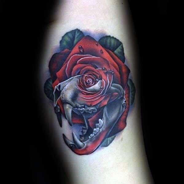 Guys Cool Badass Rose Tattoo Ideas