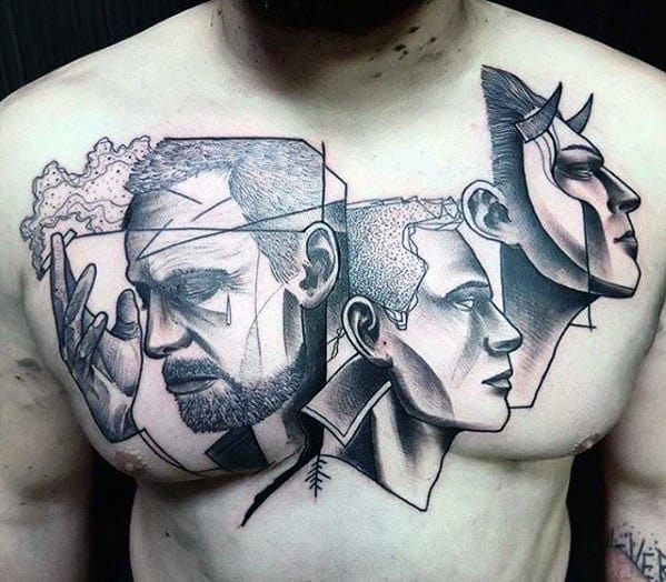 Guys Cool Chest Faces Abstract Tattoo Designs