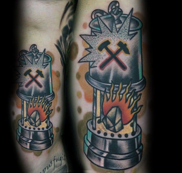 Guys Cool Coal Mining Tattoo Ideas