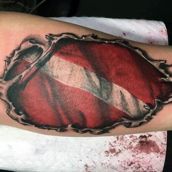 Guys Cool Dive Flag Tattoo Ideas