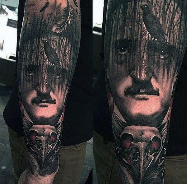 Guys Cool Edgar Allan Poe Tattoo Ideas