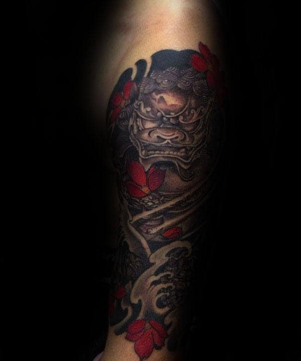 Guys Cool Foo Dog With Red Flowers Japanese Half Sleeve Tattoo