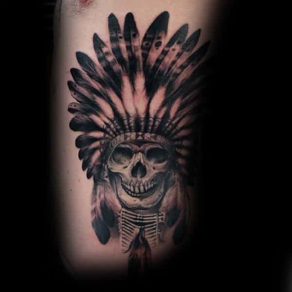 Guys Cool Indian Skull Tattoo On Rib Cage Side Of Body