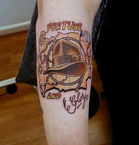 Guys Cool Indiana Jones Tattoo Ideas On Forearm