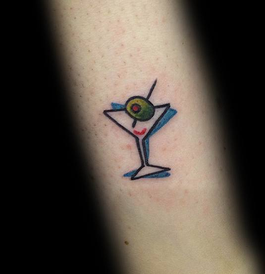 40 martini glass tattoo ideas for men cocktail designs for Small cocktail tattoos