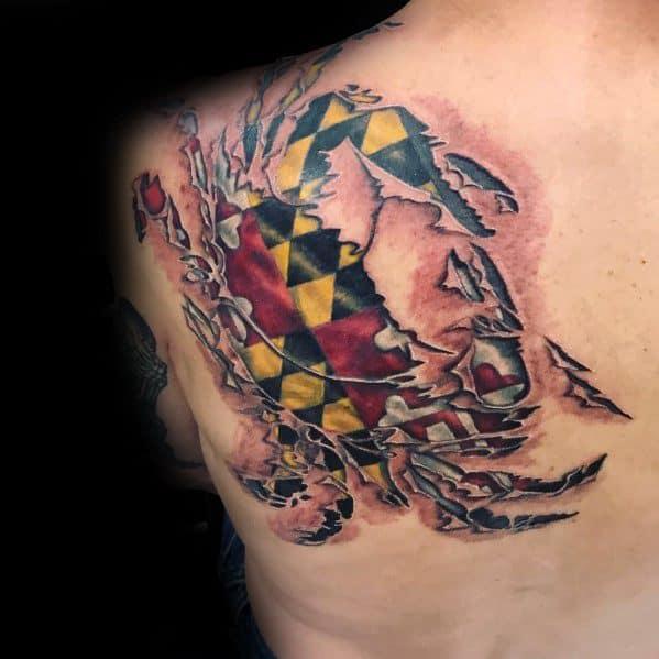 Guys Cool Maryland Flag Tattoo Ideas