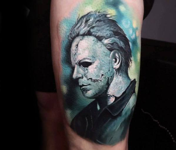 Guys Cool Michael Myers Tattoo Ideas On Thigh Of Leg