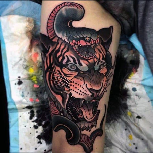 Guys Cool Neo Traditional Snake Tattoo Ideas