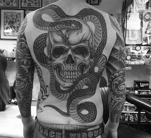 Guys Cool Old School Traditional Snake And Skull Full Back Tattoos