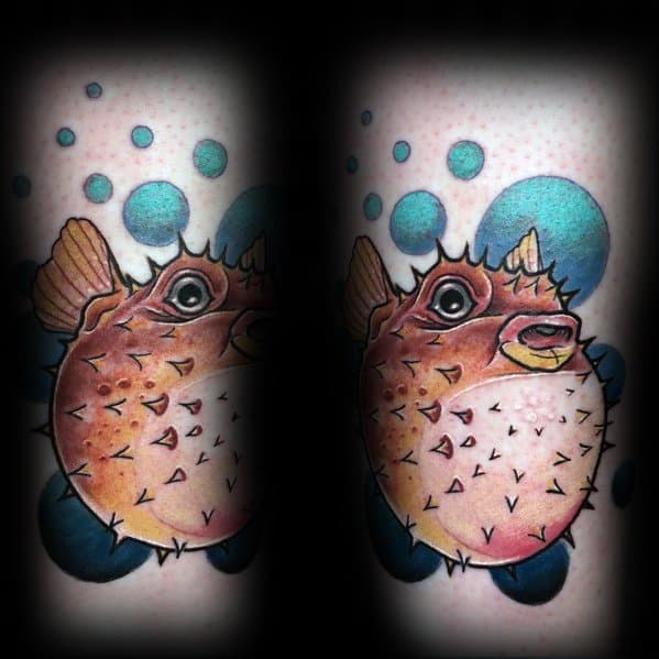 Guys Cool Puffer Fish Tattoo Ideas