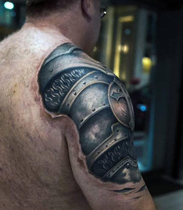 Guys Cool Realistic 3d Armor Plate Arm Tattoos