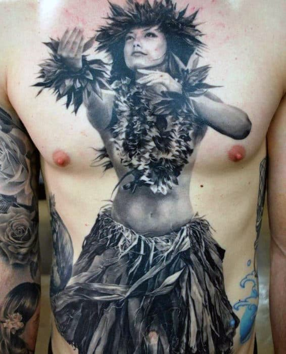Guys Cool Realistic 3d Hula Dancer Chest Tattoo