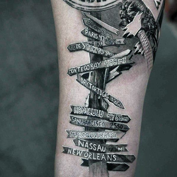 Guys Cool Street Sign 3d White And Grey Ink Tattoo Ideas