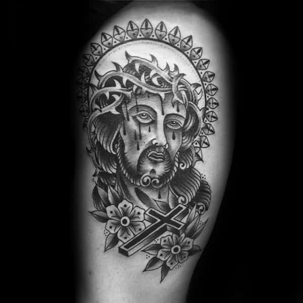 Guys Cool Traditional Jesus Thigh Tattoo Inspiration