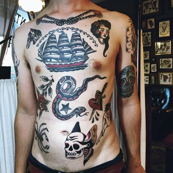Guys Cool Traditional Ship Upper Chest Tattoos