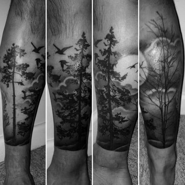 Guys Cool Tree Leg Tattoo Ideas