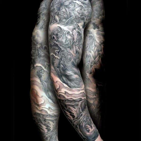 Guys Cool Warrior Horse Arm Tattoo Designs
