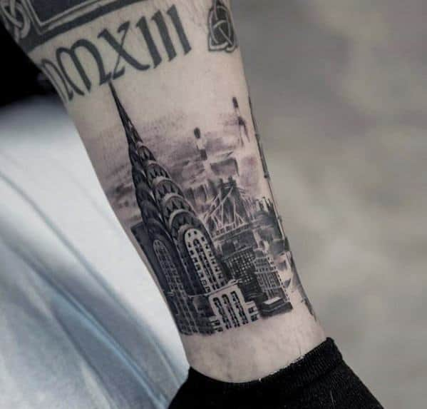Guys Coolest Small New York City Skyline Lower Leg Tattoo