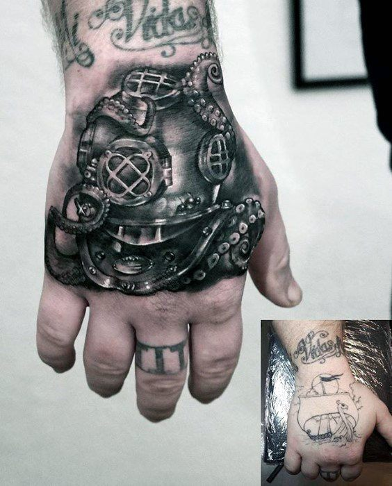 Guys Cover Up Diving Helmet Hand Tattoo