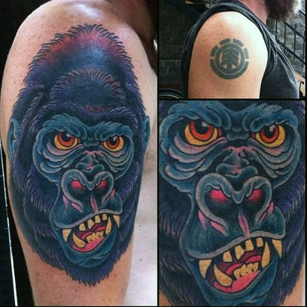 Guys Cover Up Gorilla Tattoo On Upper Arm