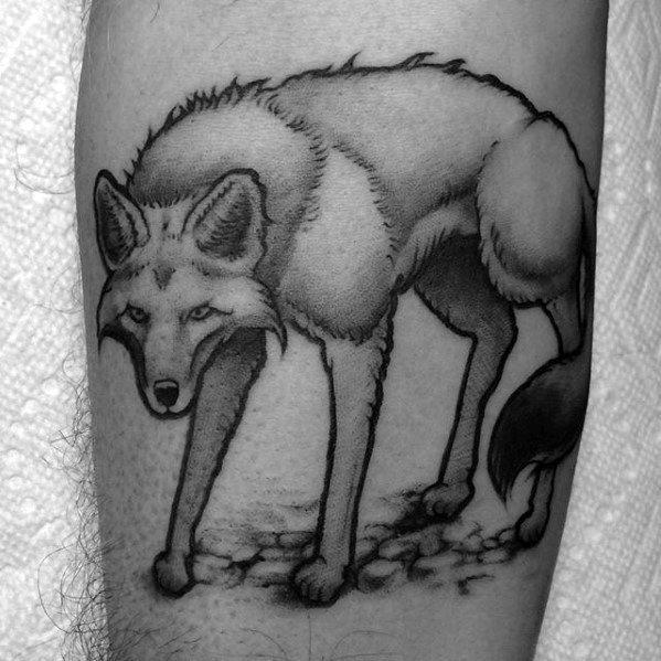 Guys Coyote Tattoo Design Ideas