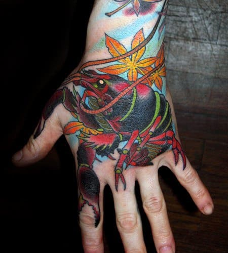 Guys Crawfish Tattoo Designs On Hand