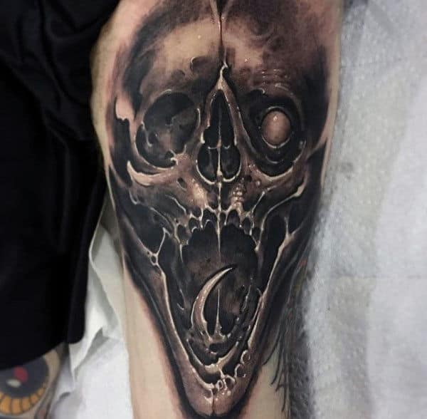 Guys Crazy Demonic Skull Thigh Tattoos