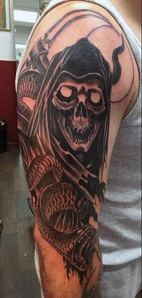 Guy's Creative Grim Reaper Tattoo Designs Half Sleeve