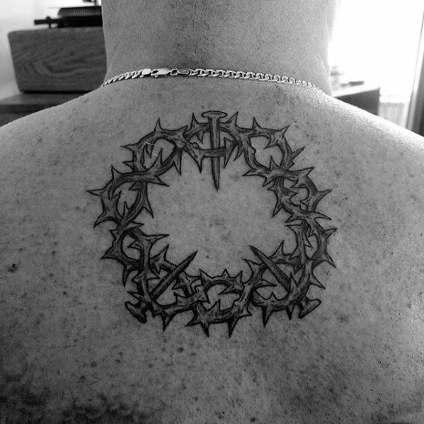 Guys Crown Of Thorns Circular Upper Back Tattoos