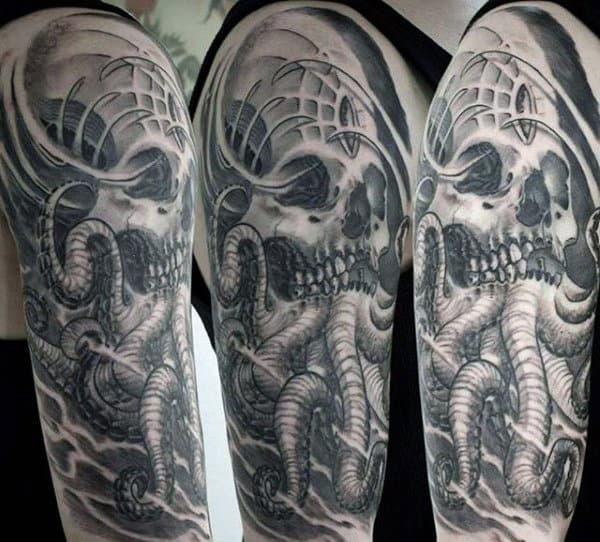 Guys Cthulhu Skull Half Sleeve Tattoo Ideas