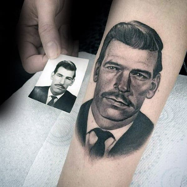 Guys Dad Memorial Portrait Arm Tattoo With Realistic Design