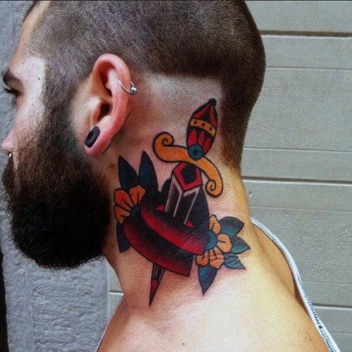 Guys Dagger Through Heart Traditional Neck Tattoo
