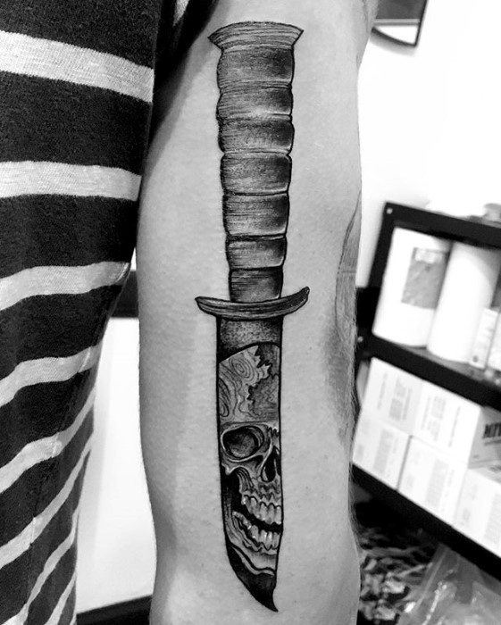Guys Dagger Unique Skull Back Of Arm Tattoos