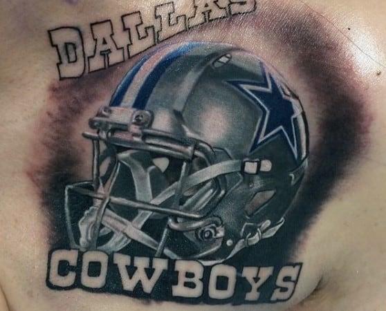 Guys Dallas Cowboys Football Helmet Lettering Chest Tattoos